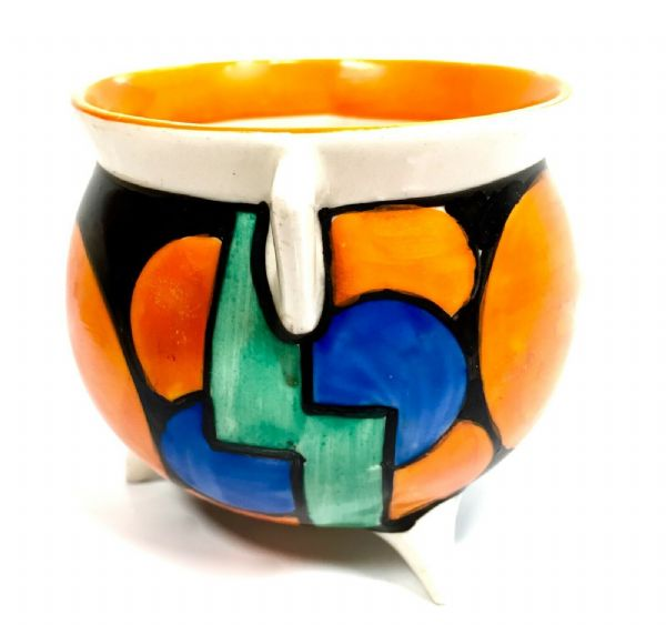 Clarice Cliff Bizarre Picasso Flower Cauldron Vase / Pot / Art Deco Pottery 1929